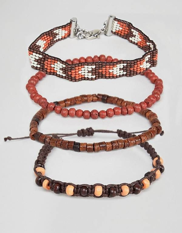 0b5f1c90741b Pack de pulseras de cuentas en marrón y burdeos de ASOS DESIGN ...
