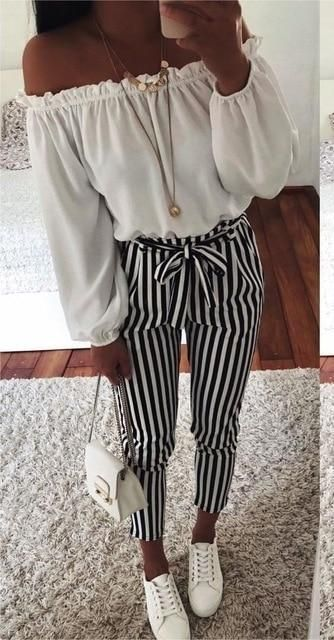 2018 new autumn black and white casua belt striped pants women fashionrricdress