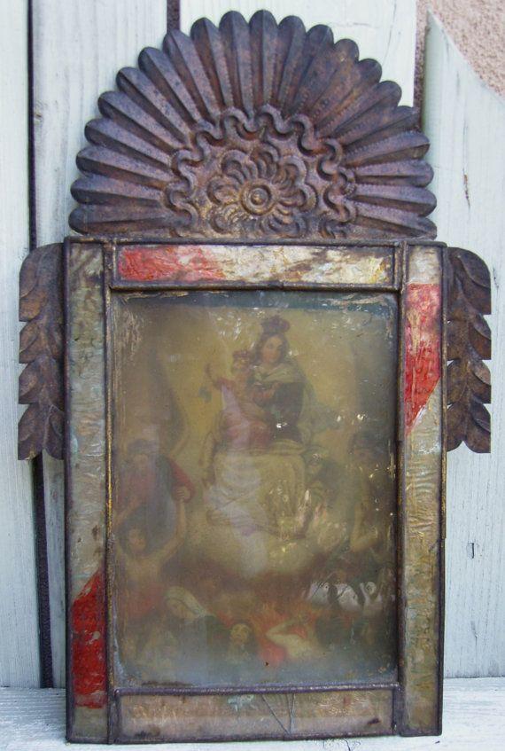 Antique Mexican Retablo Tin Nicho  N.S. De by IsabellaDeMayo, $225.00