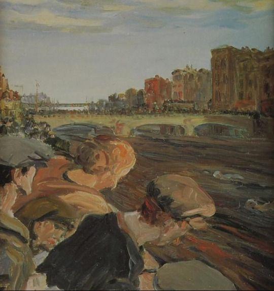 Swimming race, The Liffey, Jack Butler Yeats. Irish (1871 - 1957)