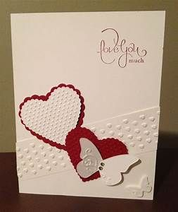 valentines day stampin up card why pinned embossed diagonal strip can do this directly onto card or on same or alternative colour card - Stampin Up Valentine Cards