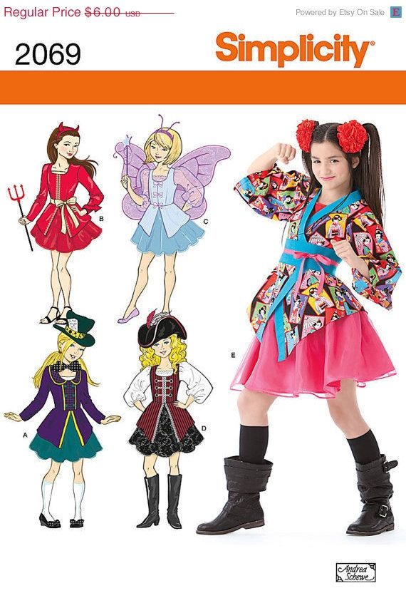 spring sale sewing pattern costume kids childrens halloween fairy devil pirate ninja steampunk mad hatter - Childrens Halloween Costume Patterns