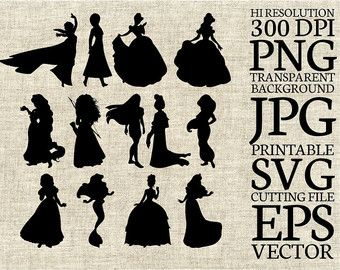 Frozen Sisters Elsa and Anna Disney Silhouette SVG Cut File