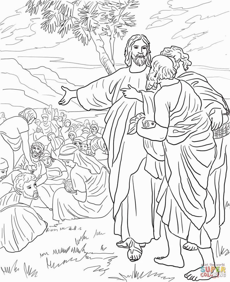 Jesus Feeds The 5000 Coloring Page Bible Coloring Pages Sunday School Coloring Pages Christian Coloring