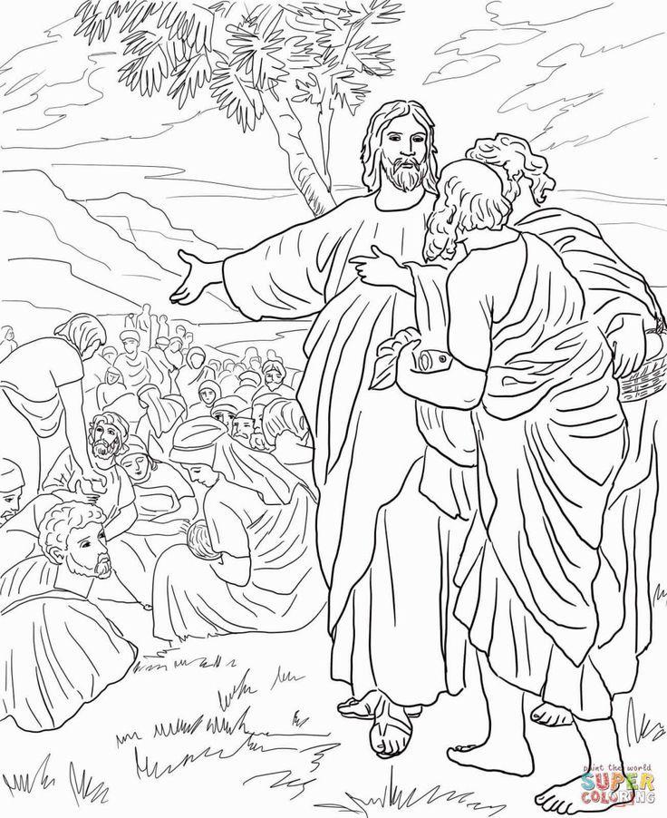 Jesus Feeds The 5000 Coloring Page   Jesus miracles   Jesus ...
