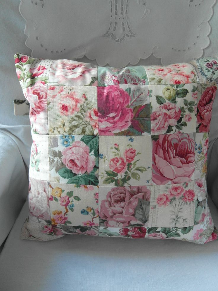 rose patchwork cushion