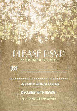 Vintage wedding invitation. Rustic String Lights Vintage Wedding Invitations. Easy to customize! #vintage_wedding_invitations