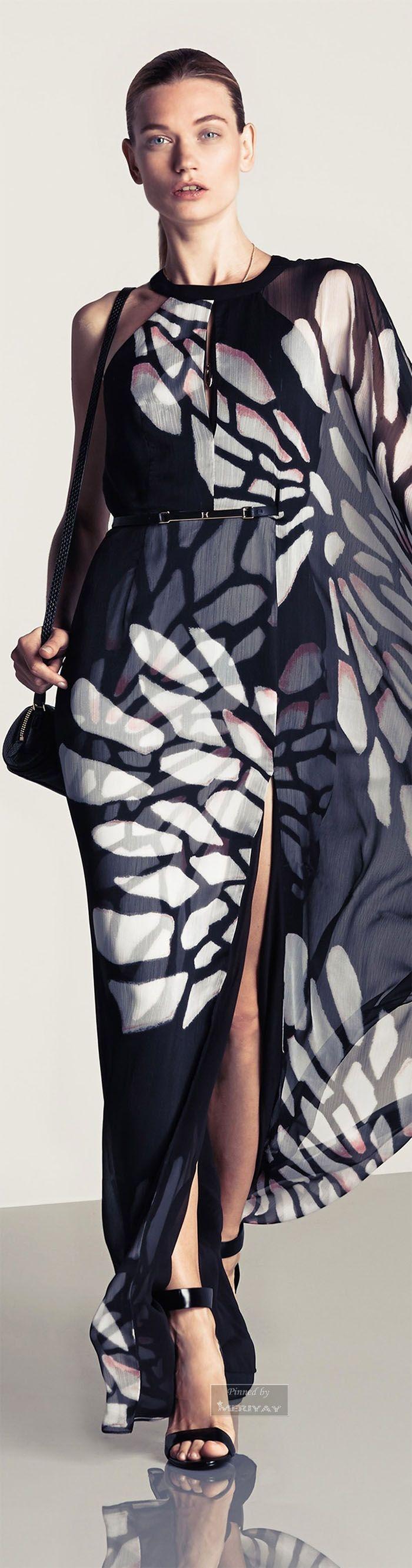 Halston Heritage ~ Spring Maxi Dress, Black/White, 2015.