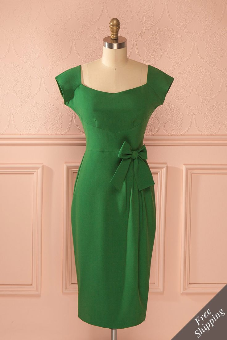 Robe mi-longue ajustée vert boucle - Green fitted mid-length vintage inspired bow dress