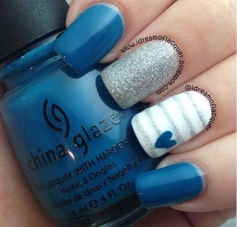 Blue nails. Nail Art. Nail Design. Heart. Stripes, glitter. China Glaze.