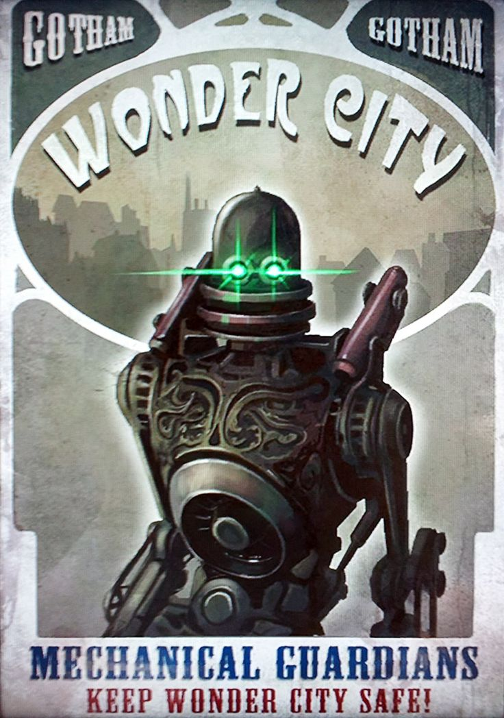 In-game Wonder City mechanical guardians propaganda poster [Batman: Arkham City]