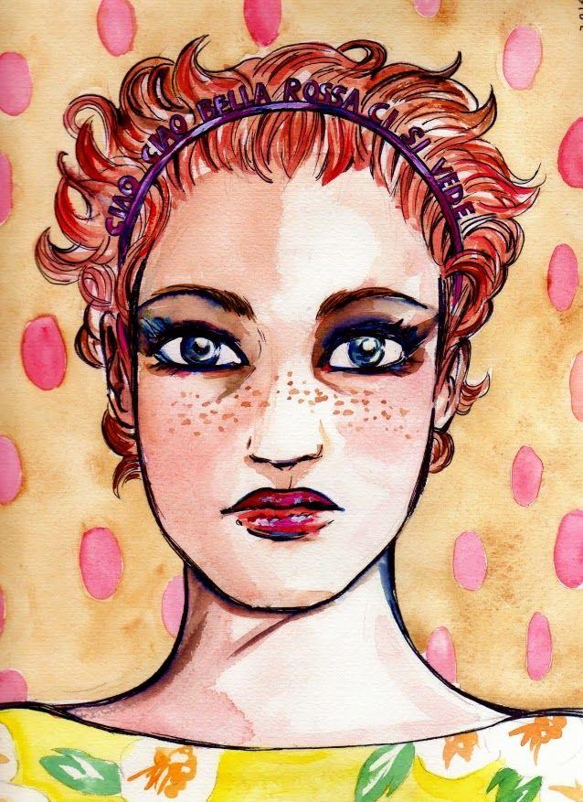 Maria Meleto of Ciao Ciao Bella Rossa ci si vede (See Ya Pretty Readhead). More on One More Red Naima Blog: http://onemorerednaima.blogspot.it/2014/01/illustration-for-ciao-ciao-bella-rossa.html