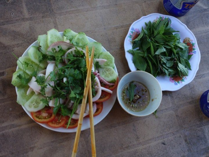 Summer squid salad - authentic Vietnamese recipe from a village in Vietnam (source: my personnal food and travel blog / vlog with recipes, authentic video recipes, street food, food and travel documentary, travel info and more. Welcome! :) )