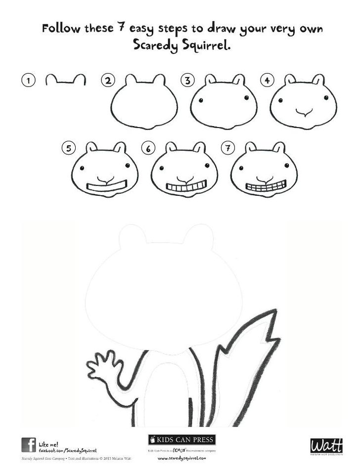 Download & Print Off: How to Draw Scaredy Squirrel.