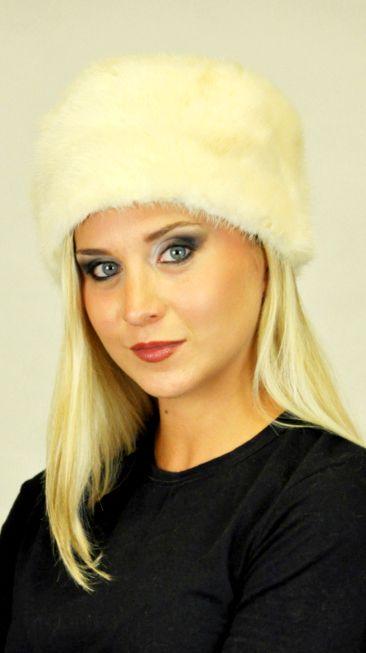 Cappello pelliccia visone bianco crema    www.amifur.it