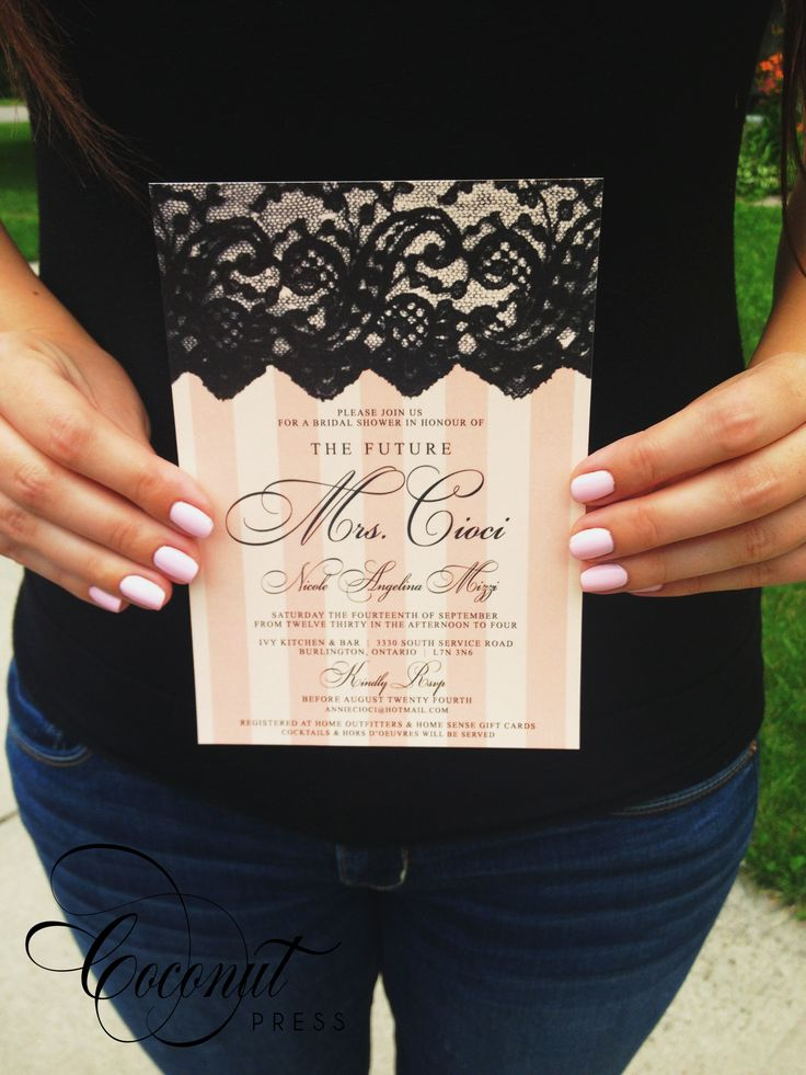 Pink Stripes & Black Lace Bridal Shower Invitations // Victoria's Secret Inspired Stripes and Lace // Invitations and Design by Coconut Press