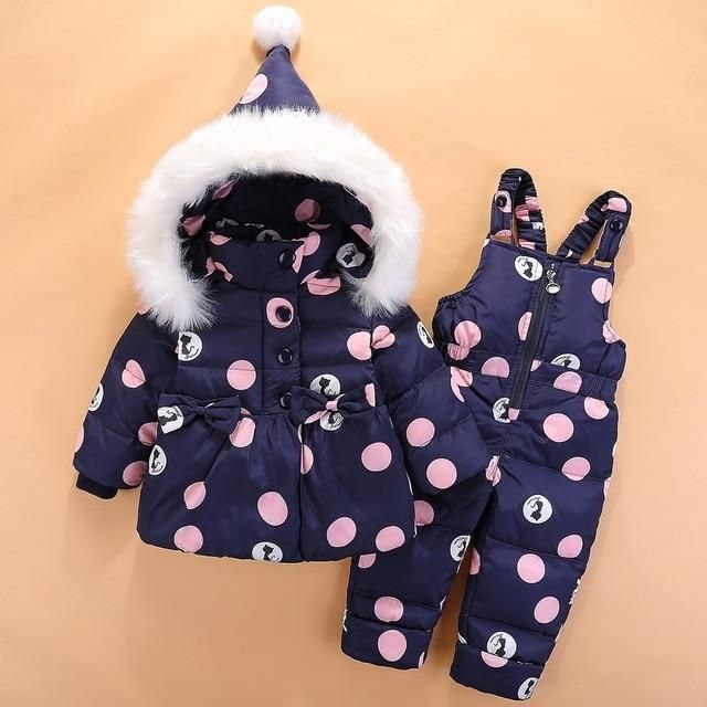 New Infant Baby Snowsuit Down Cute Cat Toddler Girls Winter Outfits Snow Wear Jumpsuit Bowknot Polka Dot Hoodies Jacket Z72