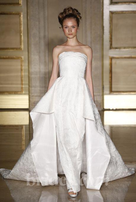 Douglas Hannant - Fall 2013 - Jacquard Strapless Sheath Wedding Dress with Winged Train |