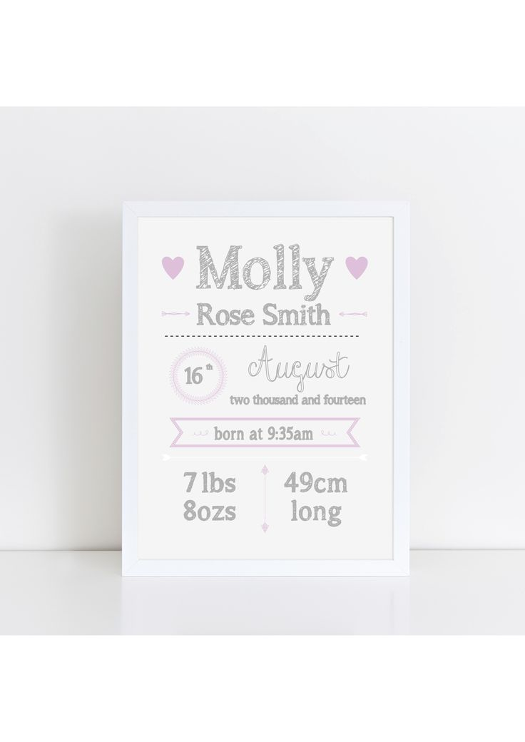 Personalised birth announcement  print available from The Little Jones on etsy - fully customisable!