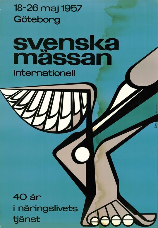 Den 18-26 maj 1957 arrangeras internationell vårmässa på Svenska Mässan. Poster from the 1957 exhibition in Gothenburg.
