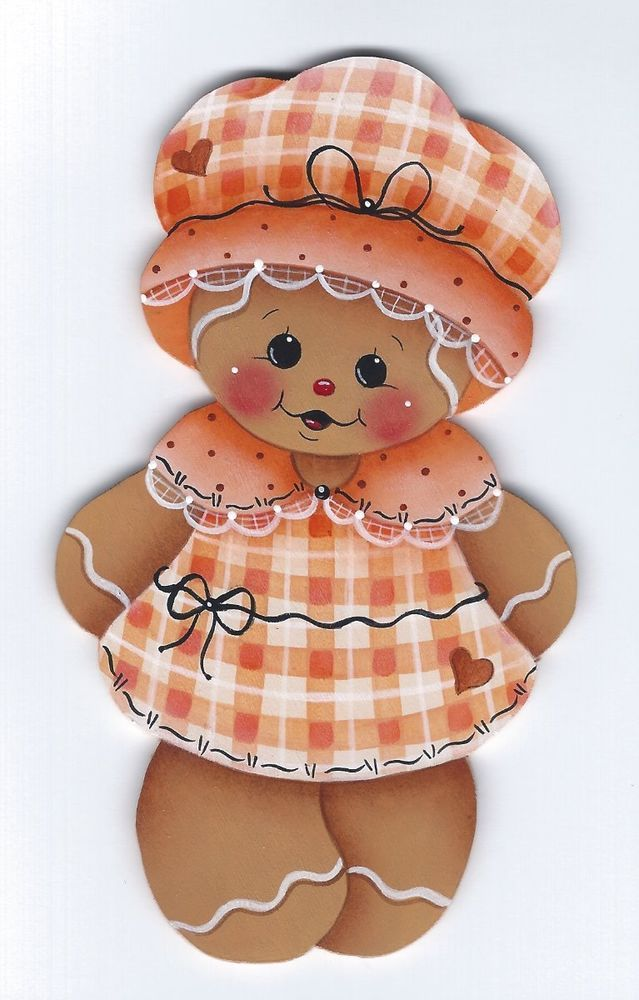HP GINGERBREAD Orange Plaid Dress FRIDGE MAGNET #Handpainted