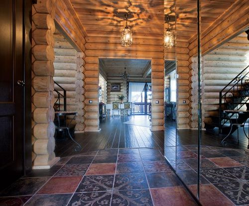 Дом из оцилиндрованного бревна в подмосковном коттеджном поселке | Дома из оцилиндрованного бревна | Журнал «Деревянные дома»