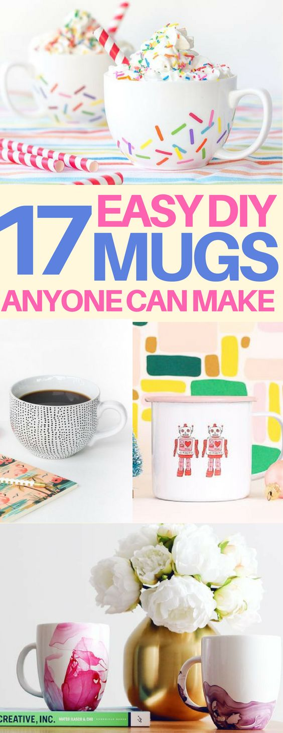 The BEST DIY mugs that are cheap & easy to make! DIY Sharpie mugs, painted mugs, and more! These would make great gift ideas filled with fun treats.