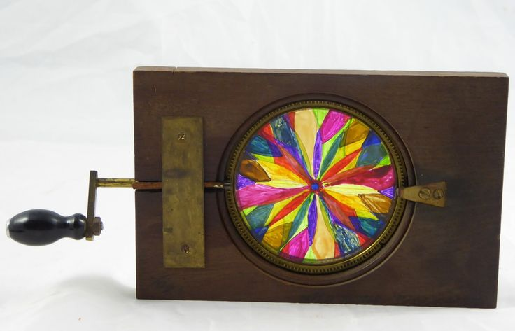 Large Mid 1800s Hand Painted Glass Magic Slide Automated Kaleidoscope - The…