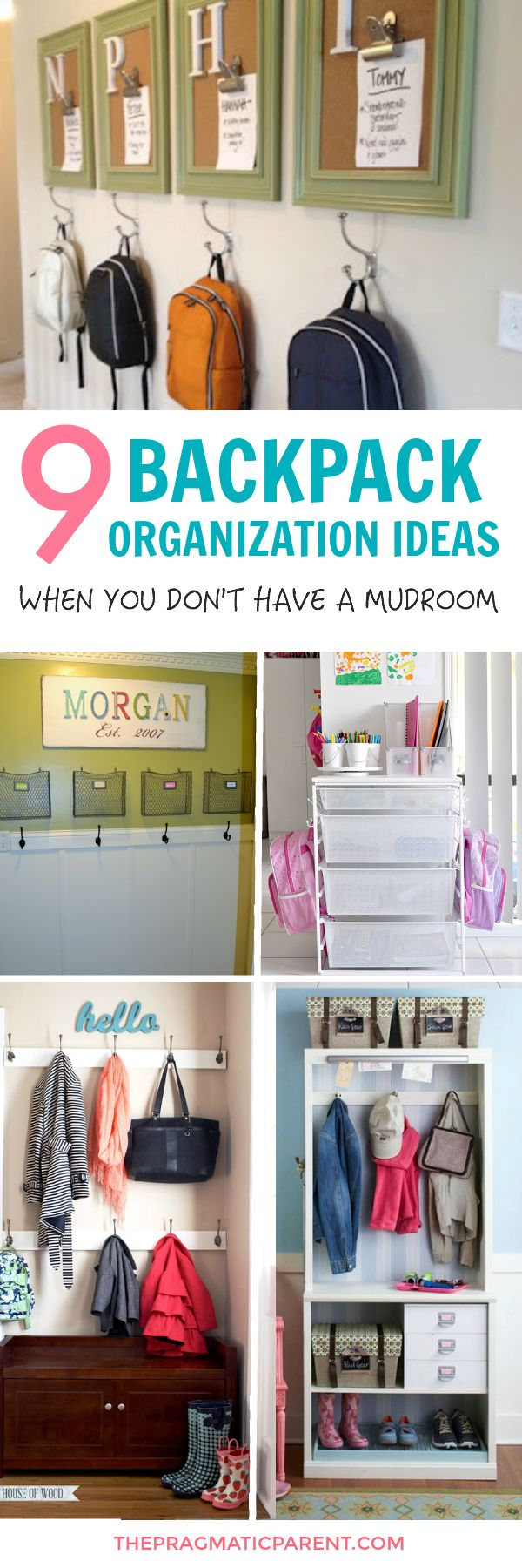Eliminate disorganization & stress when nothing is in the right spot. 9 Easy Backpack station ideas to get organized & always find what you need. Organize backpacks, school supplies and papers, shoes, jackets and get out the door on time when you and your kids have one central drop zone.  via @https://www.pinterest.com/PragmaticParent/