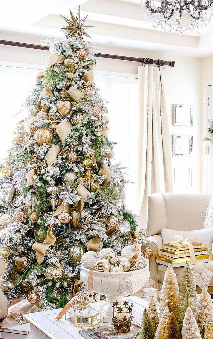 42 Gorgeous Christmas Tree Decorating Ideas Best Tutorials In 2020 Elegant Christmas Trees Flocked Christmas Trees Christmas Tree Decorations