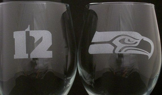 Seattle Seahawks 12th Man Wine Glasses, birthday gifts, football gifts, 12th man gifts