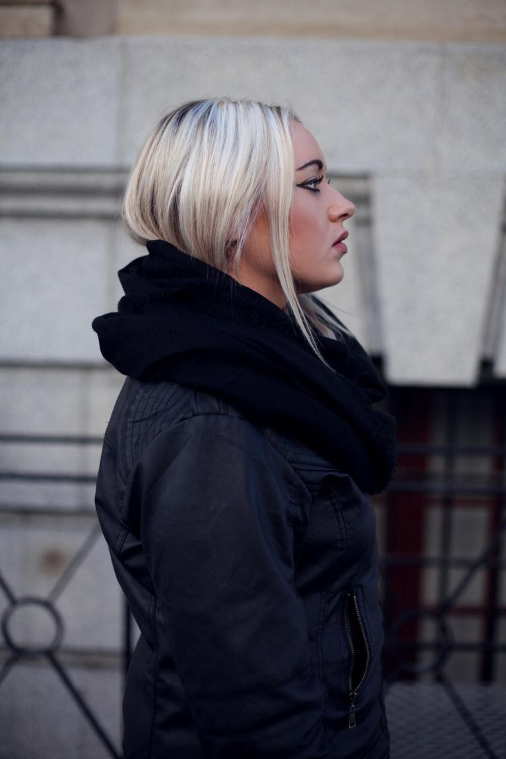 All Black layers. Black scarf. Leather jacket  Photography - Tegan Smith
