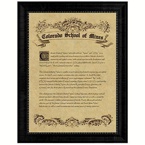 best university college collectible treasure diploma frame  colorado school of mines csm orediggers marvin miner blaster burro school pride classic art graduation gift