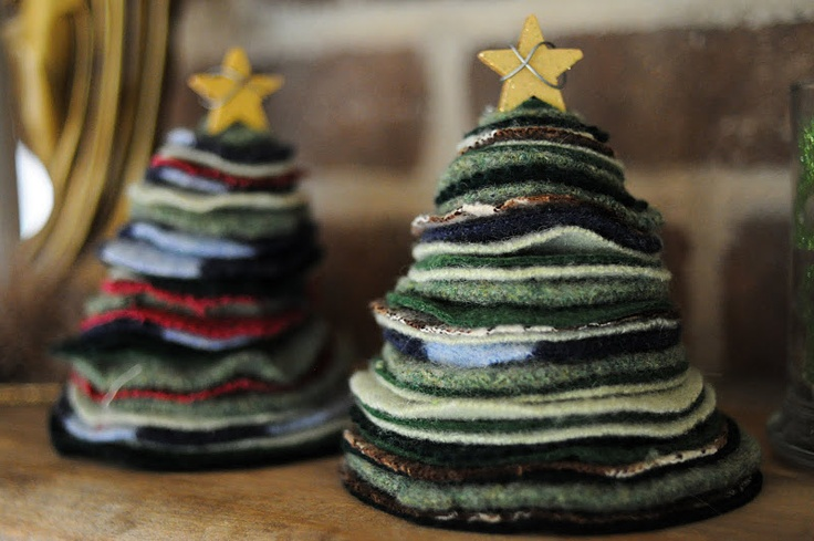 lovely felted sweater trees