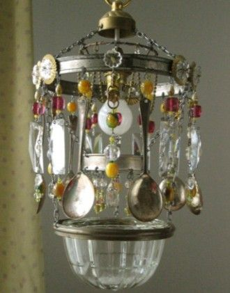 found objects chandelier
