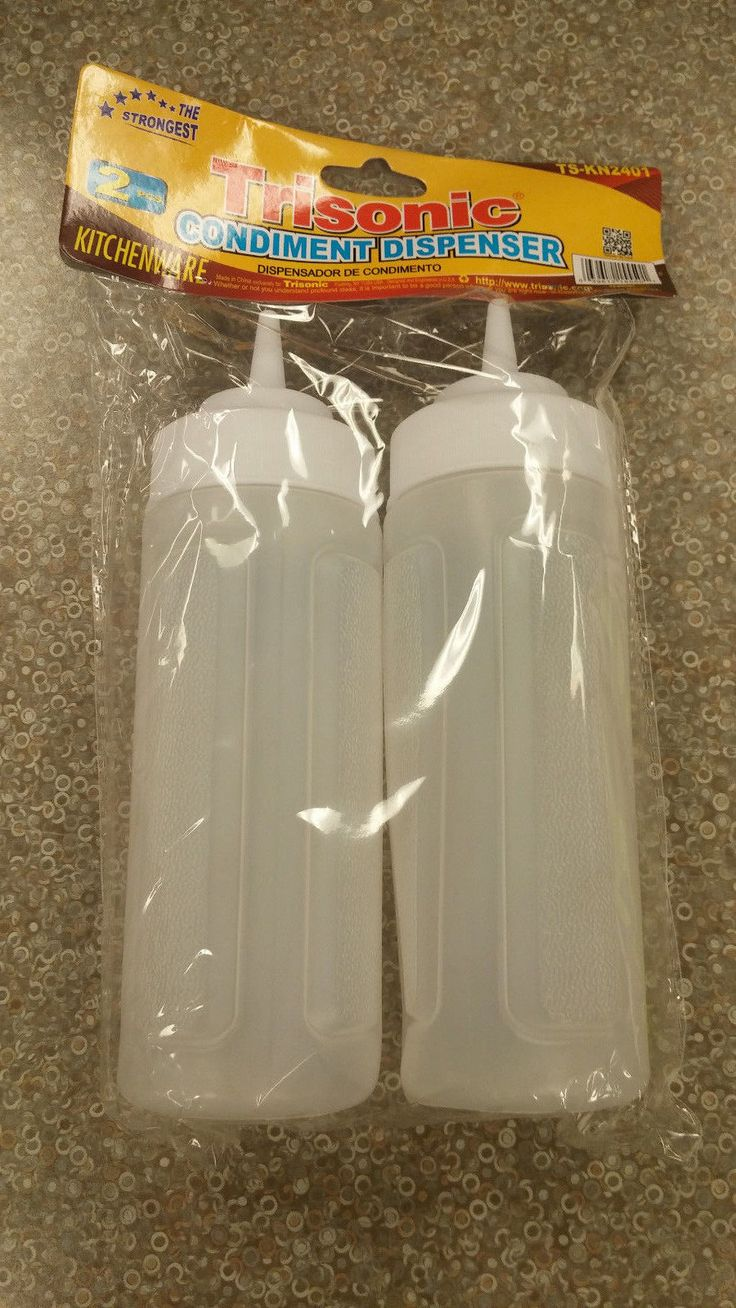 "2 X 6"" Clear Plastic Squeeze Bottles Condiment Dispenser Ketchup Mustard Twin"