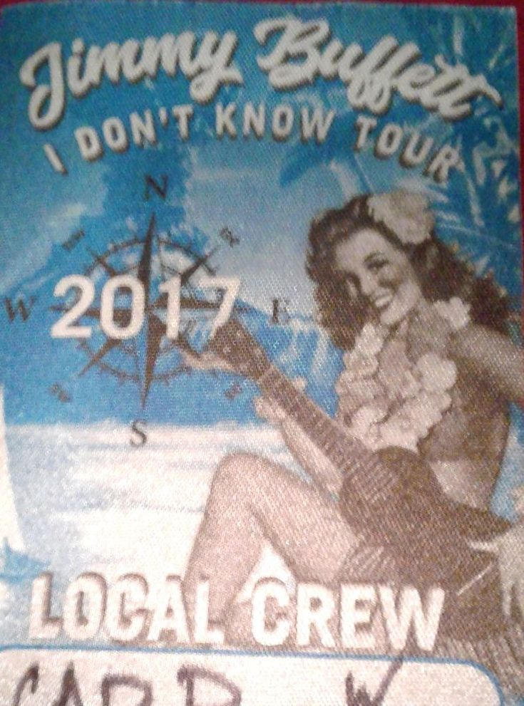 Jimmy Buffett VIP Satin Local Crew Pass From Wrigley field 2017 I Dont Know Tour