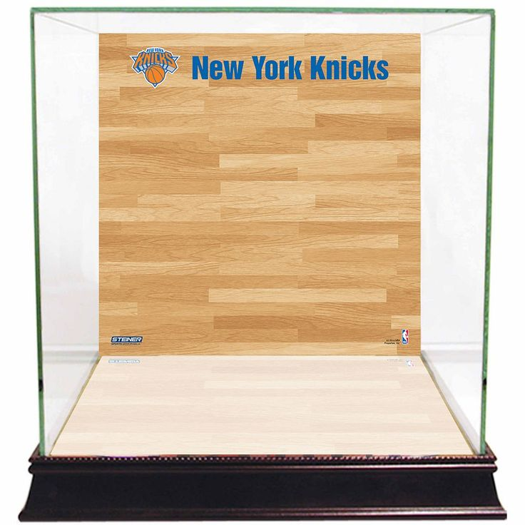 Steiner Sports Glass Basketball Display Case with New York Knicks Logo On Court Background, Multicolor