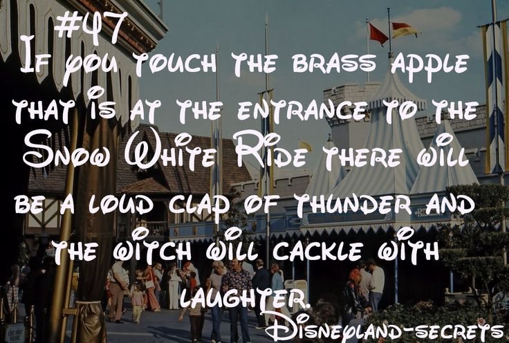 Disneyland Secret # 47: If touch the brass apple that is at the enttrance to the Snow White Ride there will be a loud clap of thunder and the witch will cackle with laughter. (I have to remember to do this!)