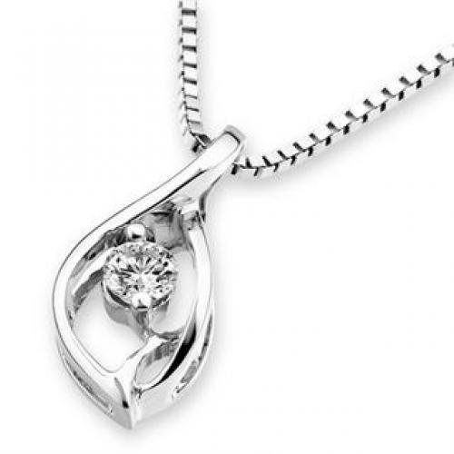 18K White Gold Droplet Diamond Solitaire Pendant (1/10 cttw) (FREE 925 Silver Box Chain)