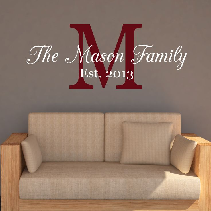 Decorate any room in your home to reflect your family pride with this beautiful Family Name Monogram Wall Decal. Colors in first image are white and burgundy. Colors in second image are black and ligh