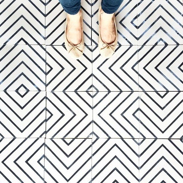 White and black geometric flooring