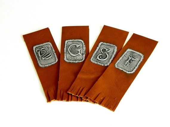Bookmark Leather Personalised Pewter Design by Loutul on Etsy, £5.00