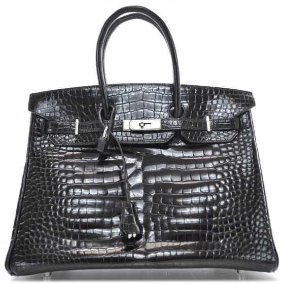 This is the authentic HERMES Niloticus Crocodile BIRKIN 35 Black ...
