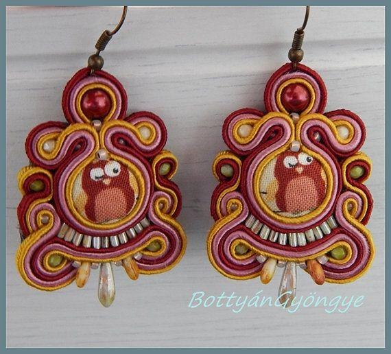 Owl soutache earrings by BottyanGyongye on Etsy,