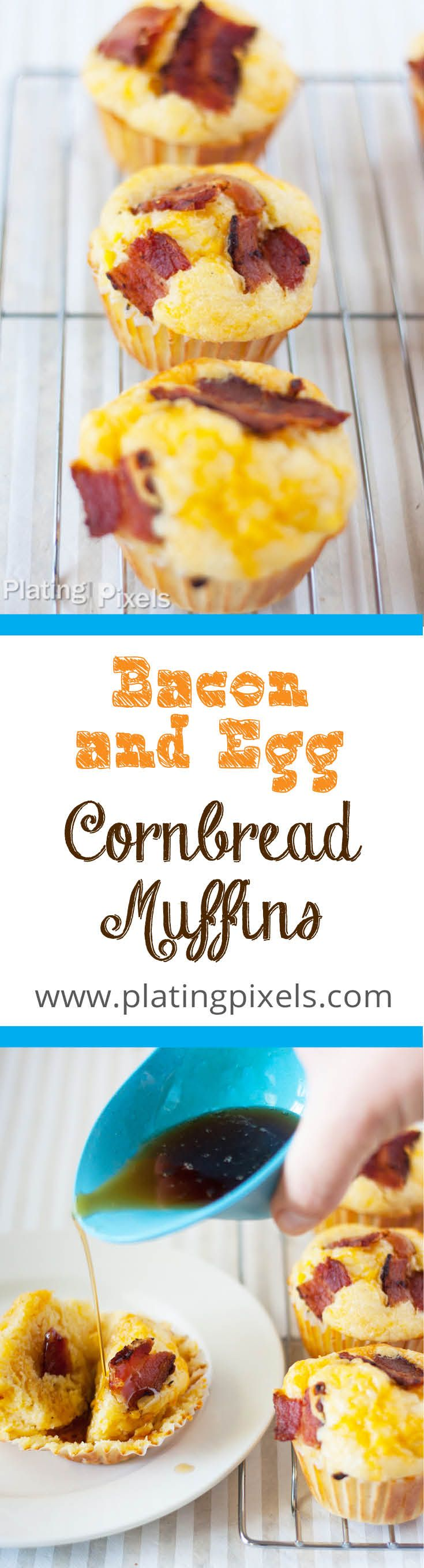 Bacon and Egg Cornbread Muffins by Plating Pixels. Swirled with corn kernels, scrambled eggs, topped with crisp bacon and cheese. A full breakfast poured it into a muffin. - www.platingpixels.com