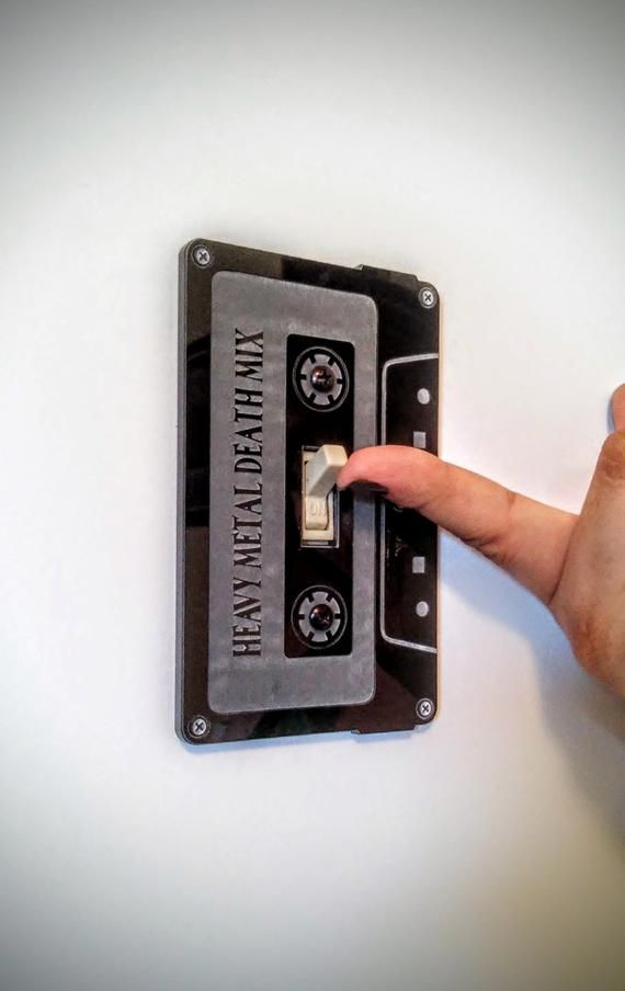 "Light Switch Cover – Cassette Tape Switch Plate Wall Art / Home Decor ""Heavy Metal Death Mix"""