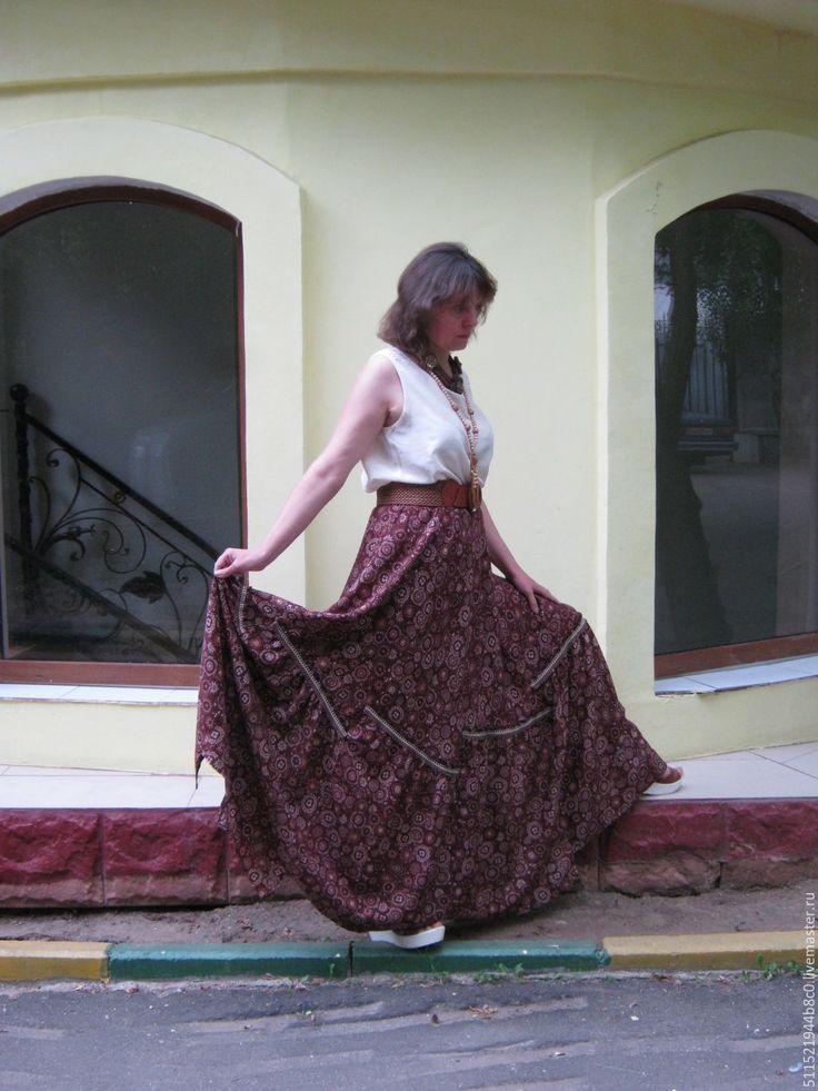 Купить Юбка бохо макси - бордовый, юбка длинная летняя, юбка легкая из хлопка