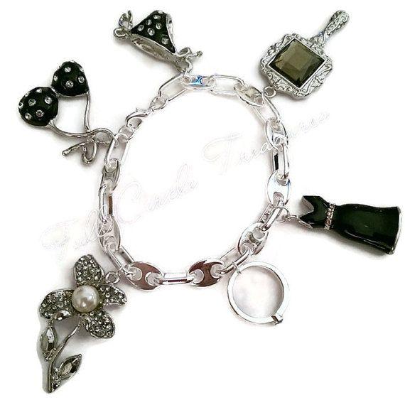 "Engagement charm bracelet, engagement gift, bikini, flower, engagement ring charm, black dress, ooak, 7 1/2"" Engagement story bracelet"