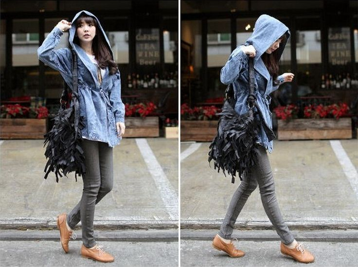 Womens Outerwear Hooded Jeans Jacket Hoodie Denim Trench Coat Belt ZO Plus Size